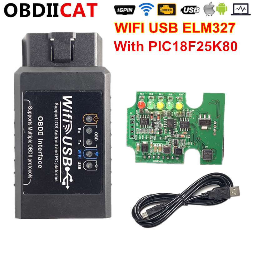 2019 HOT!!! <font><b>ELM327</b></font> WIFI USB <font><b>OBD2</b></font> OBD <font><b>Scanner</b></font> Diagnostic PIC18F25K80 Chip ELM 327 V1.5 Wifi OBD ii code reader Android /for IOS image