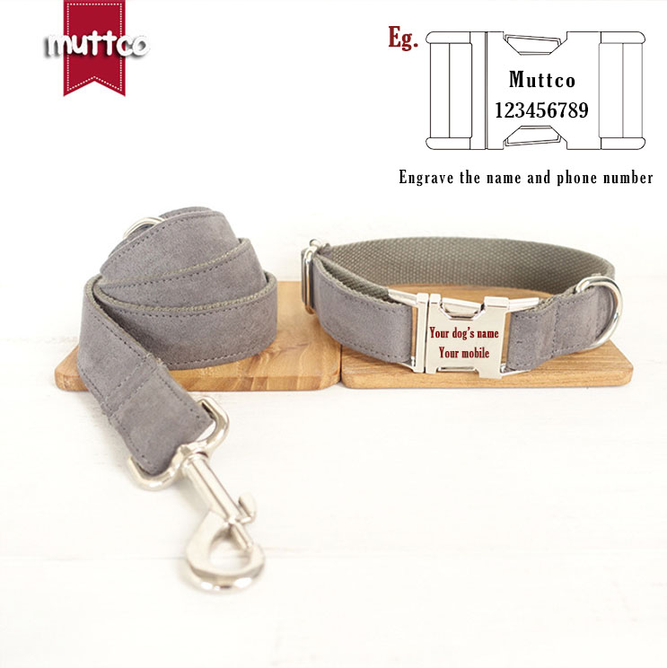 Grey Simple Color Decent Style Dog Collar And Leash Set With Metal Buckle For Big Small Dog&cat Dogs Rope Pet Accessories