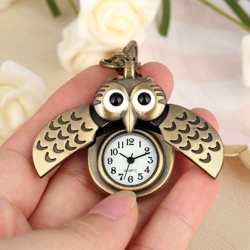 Bronze Little Small Cute Owl Keychains Pocket Watch Fob Chain Key Chains Flip Case Hour Clock Best Watch For Men Women Children