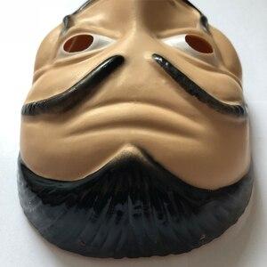 Image 5 - wholesale 20pcs/lot Plastic Dali mask La Casa De Papel Cosplay Props Halloween Yacht Carnival Dance Party Face Shield