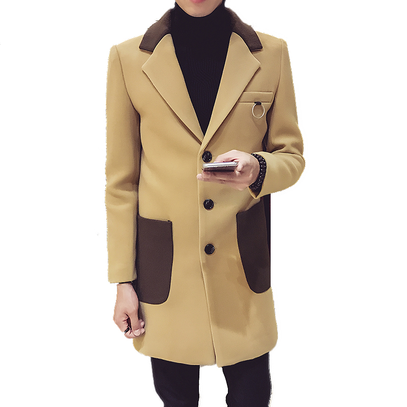 Men Khaki Wool & Blends 2019 Winter Blends Coat Mens Leisure Patchwork Coats & Jackets Men Korean Overcoat Fashion Boutique XXL