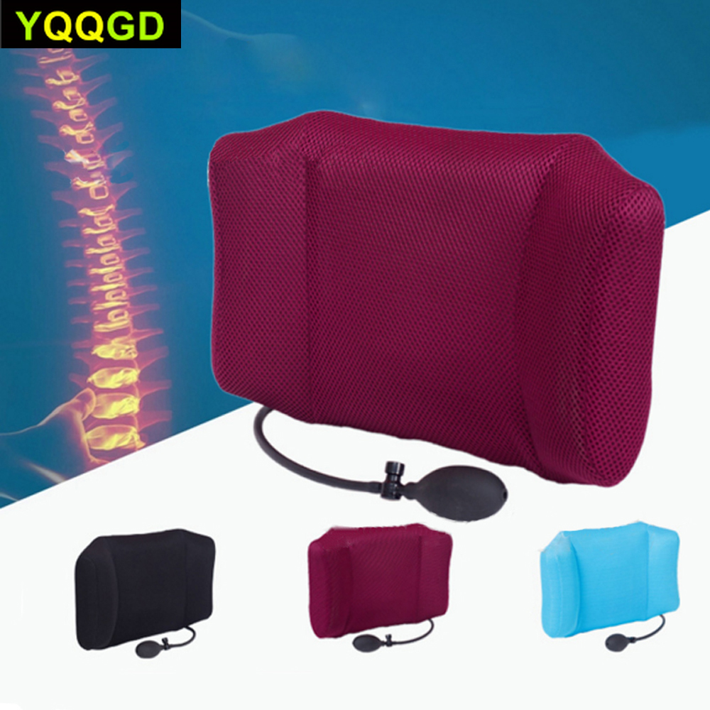1Pcs Portable Inflatable Lumbar Support Lower Back Cushion Pillow - For Office Chair And Car Sciatic Nerve Pain Relief