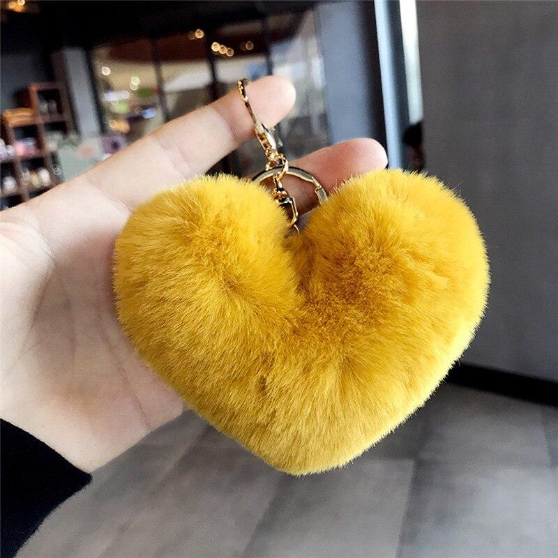 Girl Keychains Ornament Toy Baby Boys Girls Love Heart Stuffed Plush Soft Toys Plush Ball Metal Keychain Kids Keychains Toy Gift