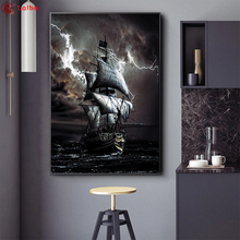5D DIY Diamond Painting Pirate Ship At Sea cross stitch full square/round diamond mosaic embroidery