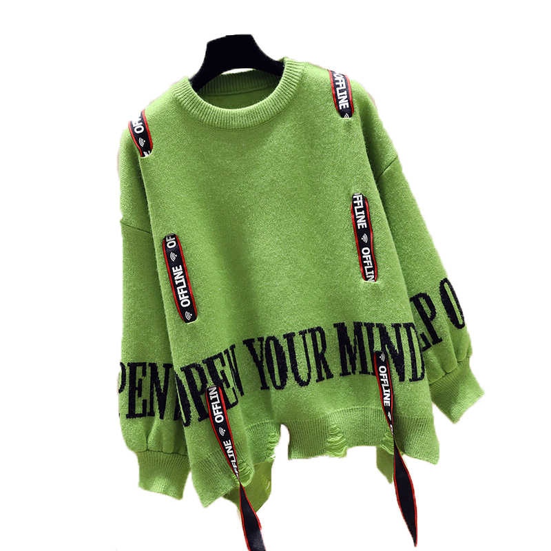 QING MO Knitted Women Sweater 2019 Autumn Winter Fashion Women Letter Printed Sweater Irregular Pullover Top ZQY1607