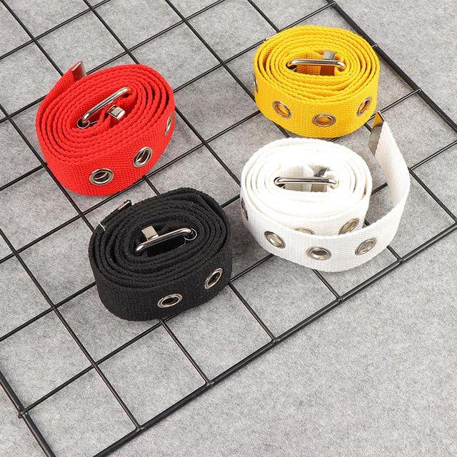 Long Personality Harajuku Casual Ring Black Metal Belt Students Jean Canvas Waist Belts Tide Silver Pin Buckle 6
