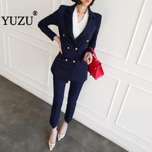 Pant Suits For Women Autumn Winter Blazer Set Blue Stripe Woman Suits Lady Suit Office Long Sleeve Double-breasted Two Piece Set цена и фото
