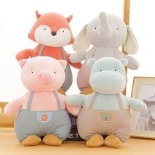 Lovely Bib Pants Elephant&Pig&Hippo&Fox Plush Toy Soft Cartoon Animal Stuffed Doll Home Decoration Girlfriend Valentines Gift