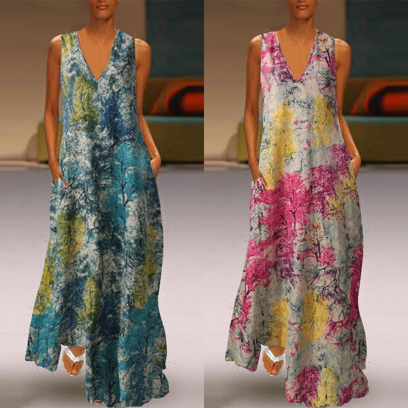 Plus Size Women's Printed Maxi Dress ZANZEA 2020 Bohemian Summer Sundress Casual Sleeveless Beach Vestidos Female V Neck Robe