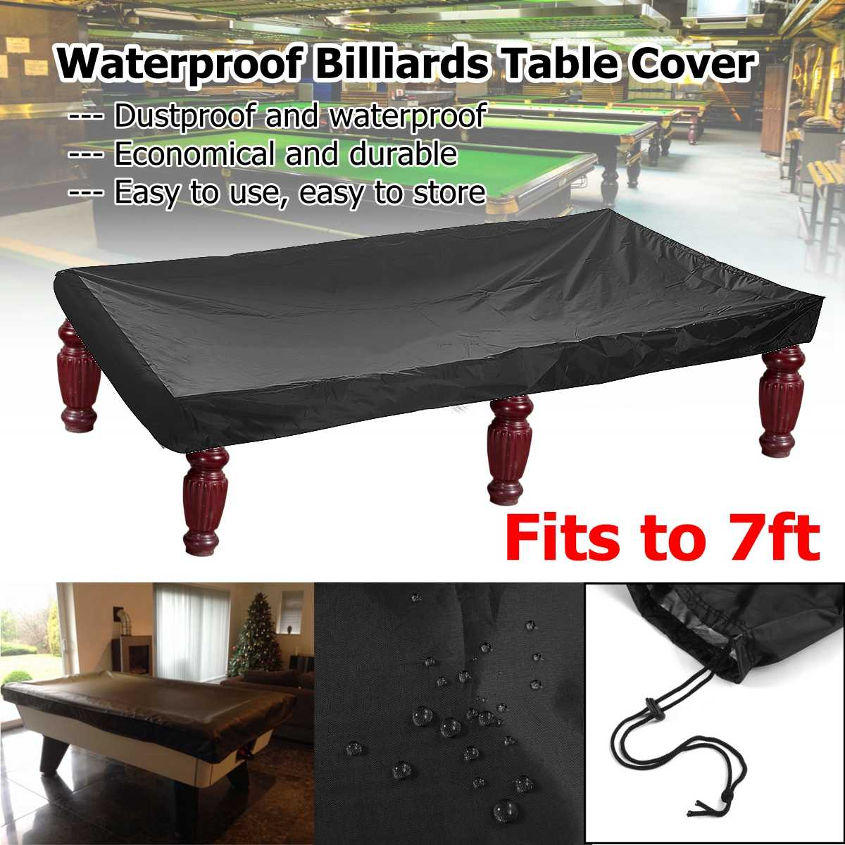 215x125x14cm PVC Table Billiard Cover Feet Billiard Tennis Table Cover R.ips Resistant Oxford Pool Table Billiard Cover
