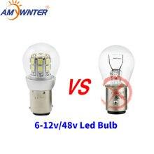 1156 led p21w dupla luz 6v p21/5w bay15d 48v carro-estilo lâmpada de sinal farol 3w freio de estacionamento