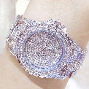 Image 5 - Full Diamond Watches Gold Women Crystal Luxury Brand Bling Rhinestone Wrist Watch Ladies Stainless Steel Clock Relogio Feminino