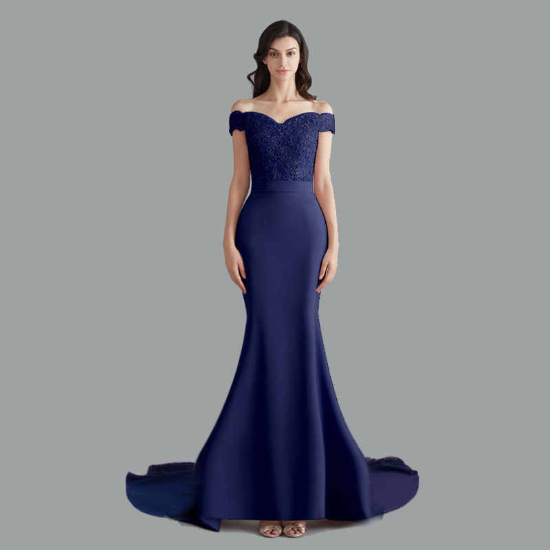 Schönheit Emily Spitze Navy Blau Abendkleid 2020 Perlen Pailletten Lange Lace Up Formale Party Prom Kleid Boden-länge robe de soiree