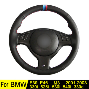 Car Steering Wheel Cover For BMW M3 E39 E46 330i 540i 525i 530i 330Ci 2003-2001 Hand-stitched Black Artificial Leather
