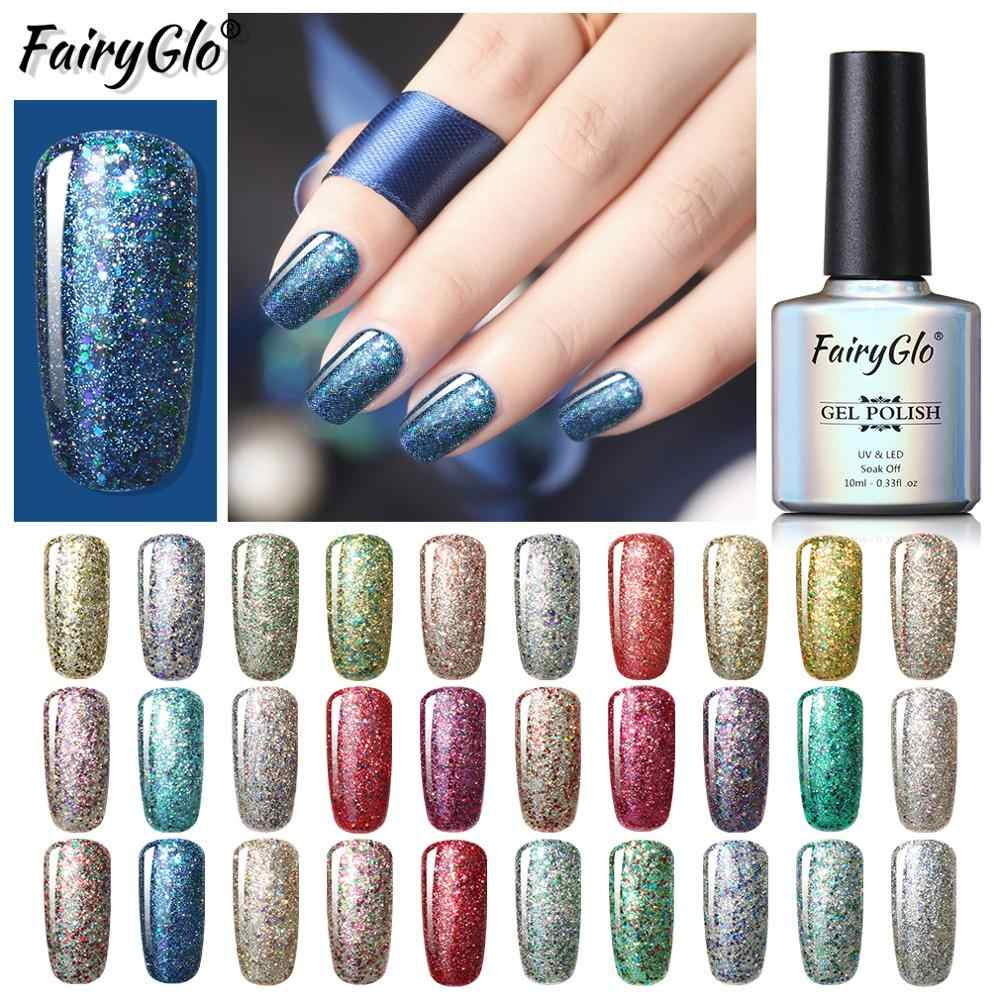 Fairyglo 10 Ml Rendam Off UV Nail Polish Starry Glitter Stamping Cat Kuku Glitter Cat Gellak Hybrid Pernis Gelpolish