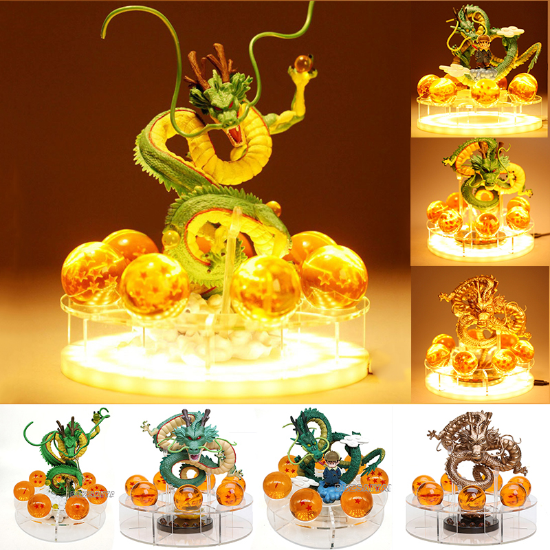 15cm Dragon Ball Shenron Figuras Bedside Lamp Dragon Ball Z Figure Night Light Shenlong+7pcs 3.5cm Balls+Acrylic Shelf DBZ(China)