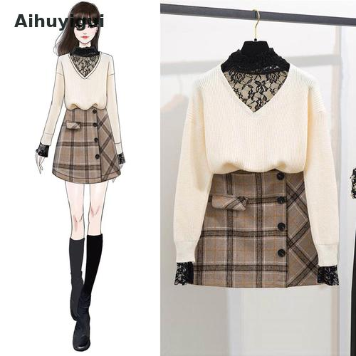 Aihuyigui 2019 Autumn And Winter New Style Lace Stitching High Collar Bottoming Knit Sweater Suit + Plaid Woolen Skirt Set Dr584