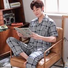 Пижама мужская летняя одежда для сна повседневная клетчатая трикотажная хлопок пижама комплекты для мужчин короткий рукав длинные брюки домашняя одежда пижама плюс размер