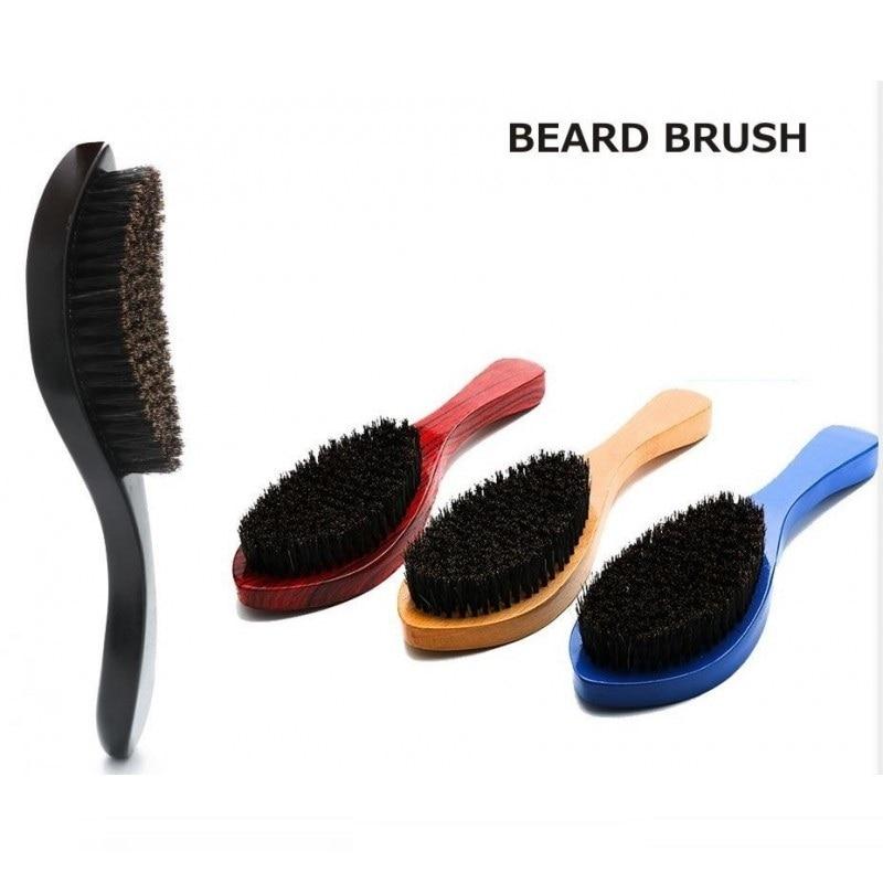 1PCS Natural Wood Boar Bristle Beard Brush Mustache Men's Beard Brush Facial Hair Beard Care Shaving Brush Tool