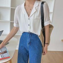 Женская рубашка летняя новая однотонная свободная с v образным