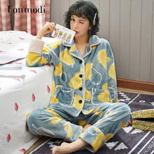 Tonmodi Autumn and Winter Warm Flannel Womens Pajamas Cute Cardigan Suit Long Sleeve Print Cartoon Girl
