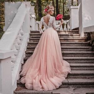 Image 3 - แขนยาวสีชมพูชุดแต่งงาน V คอลูกไม้ Appliques Court รถไฟสายเปิดด้านหลังชุดเจ้าสาว Vestidos de เจ้าสาว