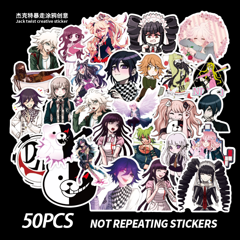 <font><b>50</b></font> PCS Game Danganronpa <font><b>Sticker</b></font> Toys For Watercolor Cute Anime Cartoon Decal <font><b>Stickers</b></font> to DIY Laptop Luggage Skateboard image