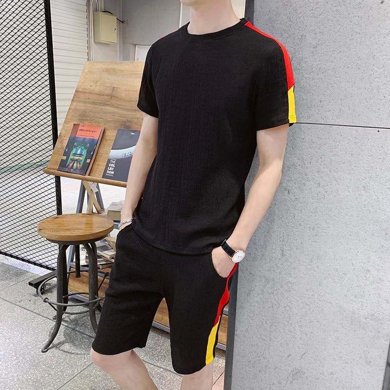 Красивые мужские брендовые летние футболки с коротким рукавом хип-хоп топы + костюм с шортами мужские спортивные комплекты мужская одежда