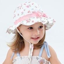 Летняя шляпа для девочек розовая пляжная ведро с цветами аксессуар