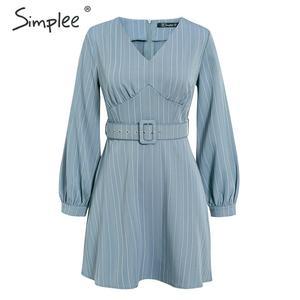 Image 5 - Simplee Sexy scollo a v a righe donne del vestito casual manica lunga cinghia di modo blu Una Linea di abito femminile Autunno inverno ufficio mini vestito