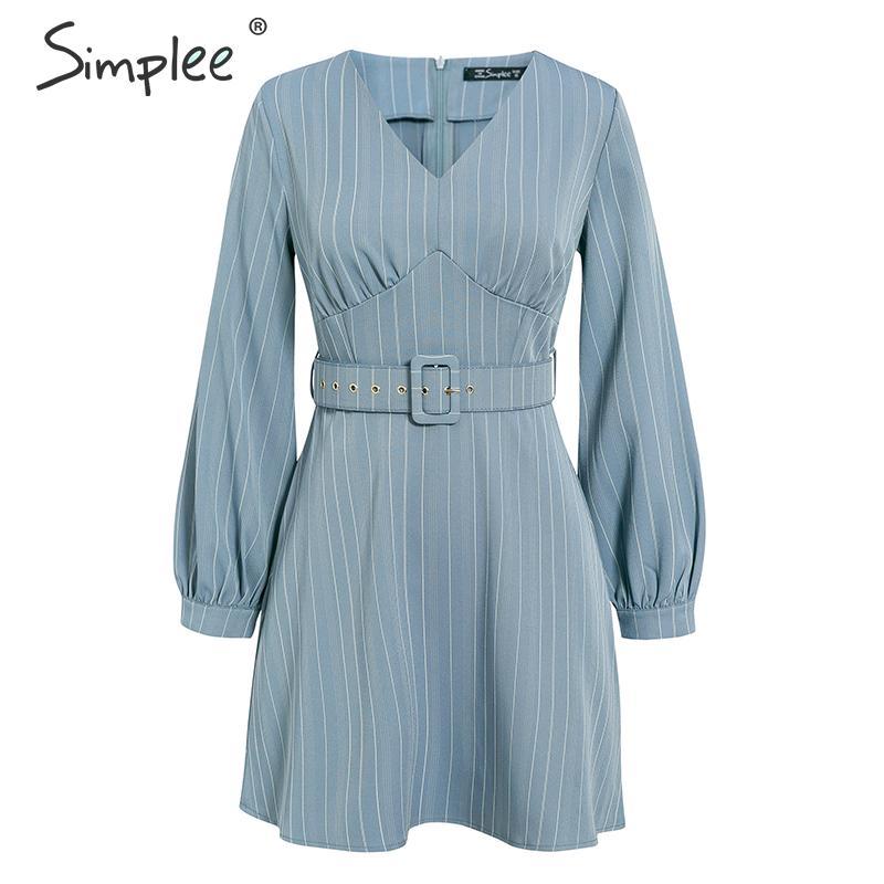 Image 5 - Simplee Sexy v neck striped women dress Casual long sleeve fashion belt blue A line female dress Autumn winter office mini dressDresses   -