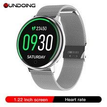 RUNDOING R7 kadın Smartwatch 1.22 ekran su geçirmez müzik kan basıncı monitörü oksijen erkekler spor smartwatch Android iOS seyretmek