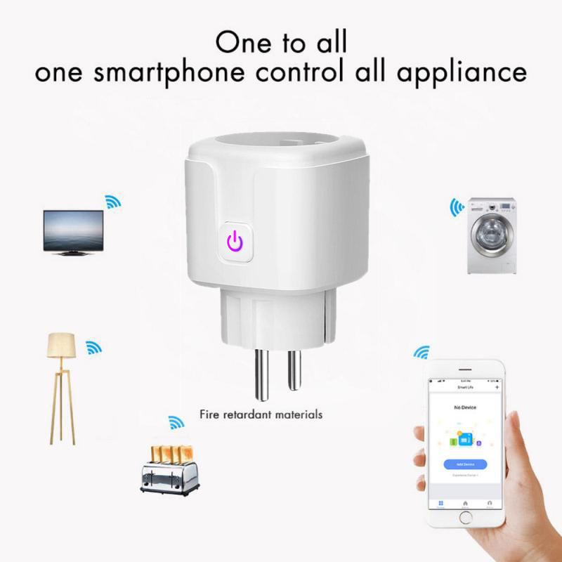FROGBRO WiFi Smart Socket EU 16A Power Monitor Timing Function Smart Plug Tuya APP Control Works With Alexa Google Assistant