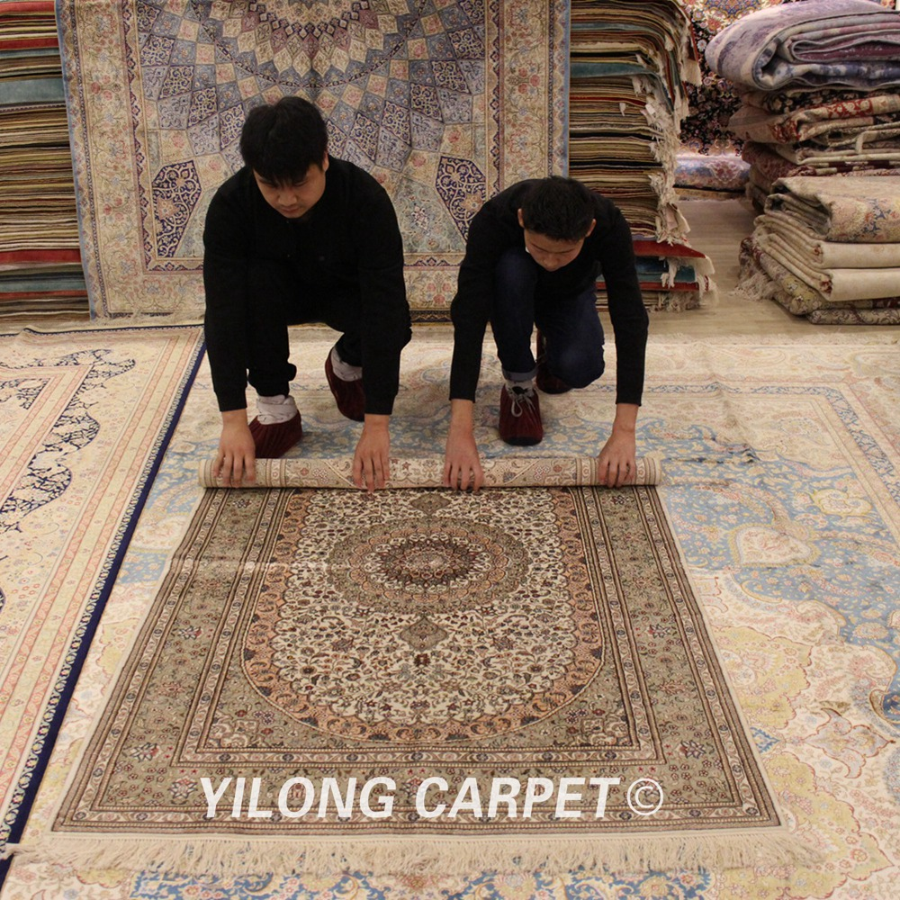 Yilong 4'x6 'tapis persan traditionnel fait main tapis de soie Antique turc (WY341A4x6)