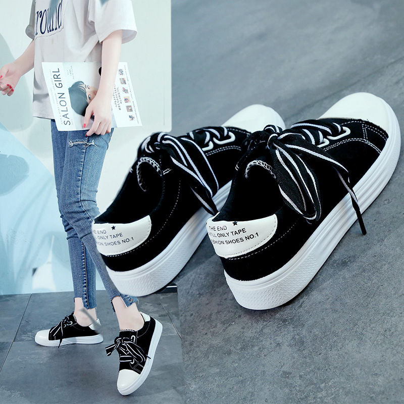 2018 Spring And Summer New Style Bow Canvas Shoes Women's Lace-up Versatile Flat Korean-style Sneakers Students INS White Shoes