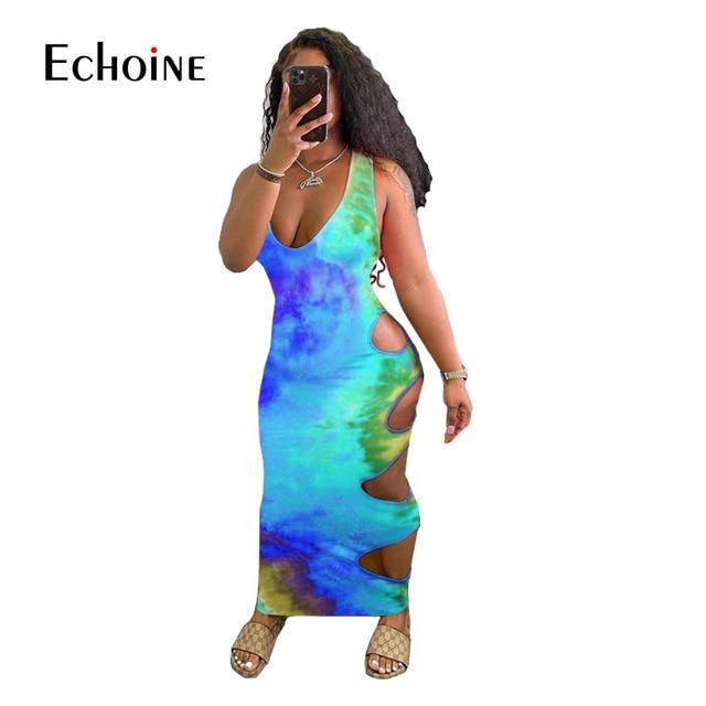 Echoine Women Summer Tie Dye Print Hole Maxi Dress V-neck Sleeveless Cut Out Bandage Sexy Night Party  Bodycon Long Dresses 6
