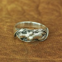 LINSION 925 Sterling Silver Sexy Naked Angel Ring Charms Biker Punk Ring TA162 US Size 7~15