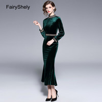 2019 Autumn Winter Blackish Green Plus Size Velvet Office Dress Women Sexy Lace Long Sleeve Club Dress Ladies Trumpet Dress XXL