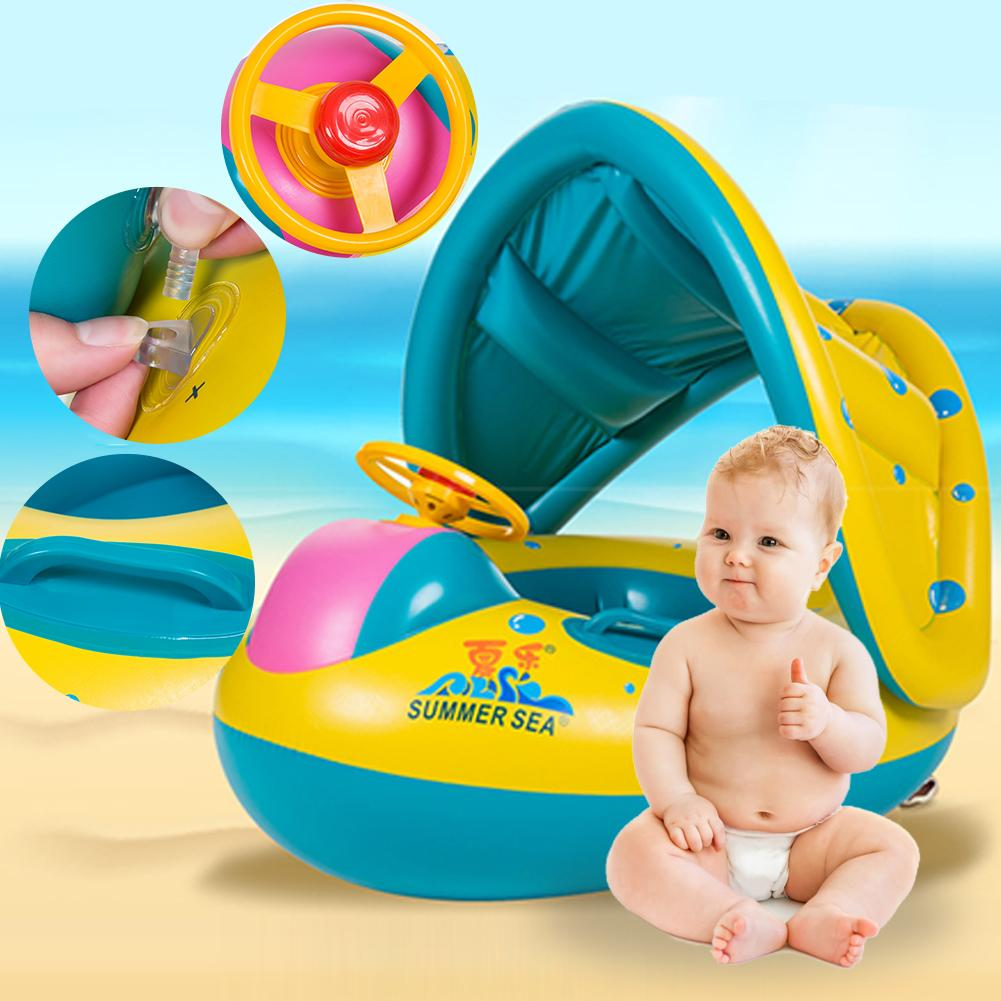 Kids Swimming Ring Yacht Inflatable Baby Swim Pool Toy Seat Float Boat