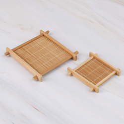 Mini Handmade Bamboo Cup Mat Coffee Cups Drinks Kung Fu Tea Accessories Table Placemats Coaster Kitchen Product Mug Pads 2 Sizes