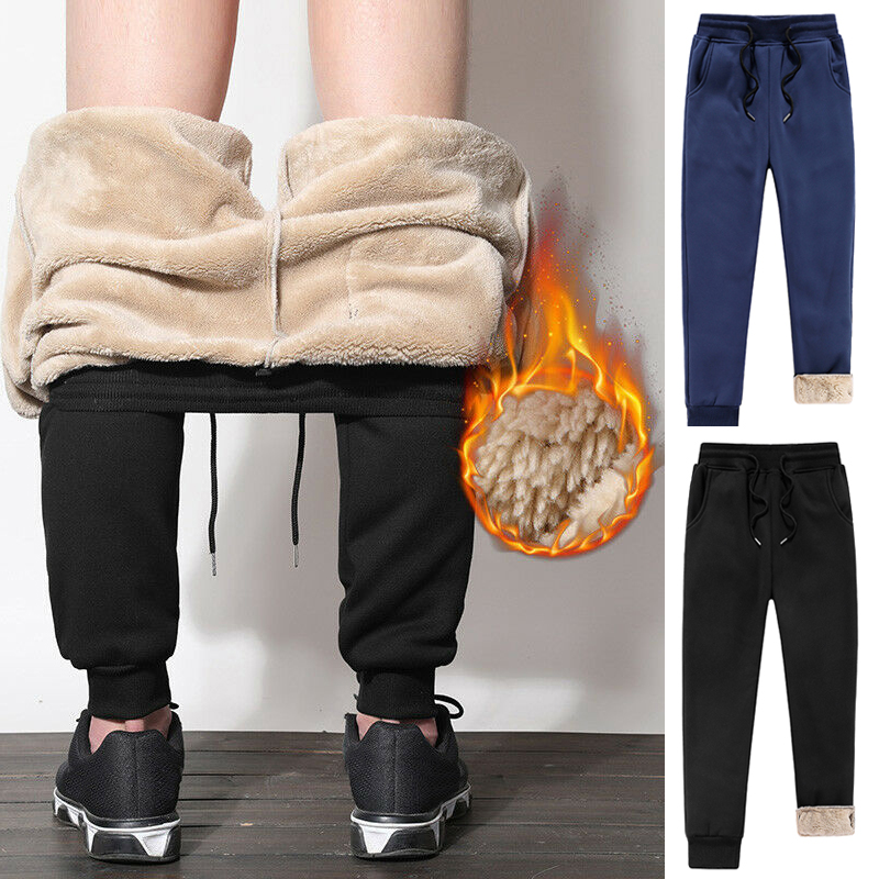 Mens Thick Fleece Fluff Pants Casual Loose Slim Winter Warm Pants Joggers Athletic Trousers Black Navy Blue Male