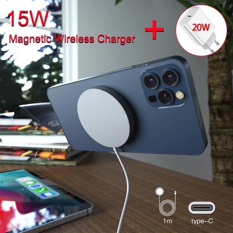 Магнитное Беспроводное зарядное устройство 15 Вт для iPhone 12 Pro Max Mini, быстрая зарядка PD 20 Вт, американская и европейская вилка, беспроводное зар...