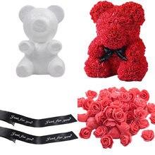 En forma de oso modelado blanco 3D de espuma de poliestireno oso Mini Flor de espuma de PE para manualidades DIY, regalos de Día de San Valentín fiesta suministros