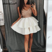 2019 Listagem do Novo Champagne Lace Apliques V-neck Ruffles Vestidos Homecoming Curto Prom Vestidos Vestidos(China)