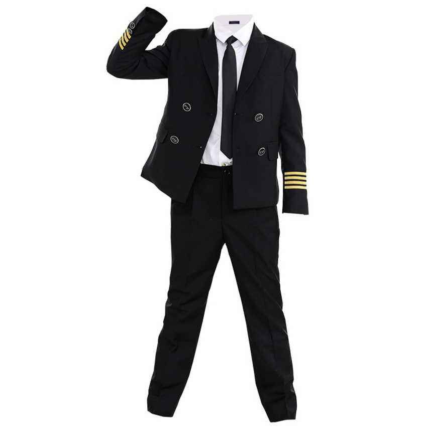 90-160cm dzieci Pilot kostiumy karnawałowe impreza z okazji Halloween nosić załoga pokładowa Cosplay mundury dzieci samolot kapitan ubrania