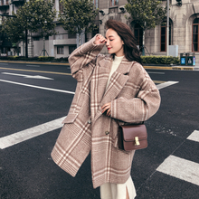 Plaid woolen coat plus size Double Breasted oversize Loose Casual warm Thick 2019 winter autumn wool blended outwear women цена
