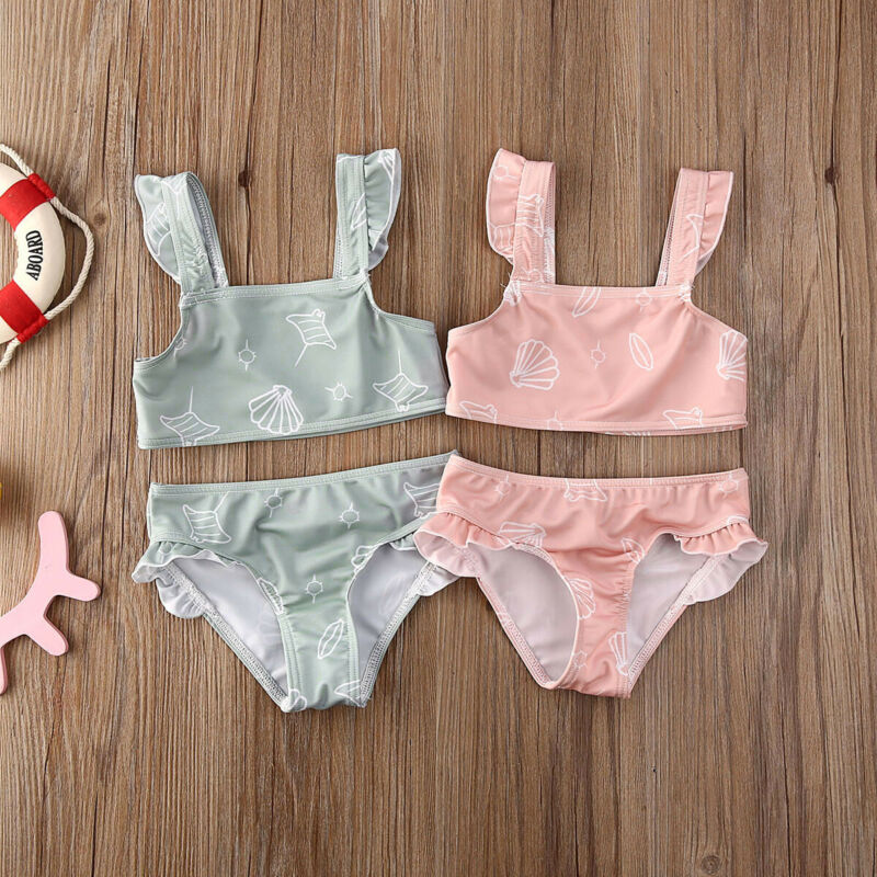 Kids Girls Solid Swimsuit Crochet Straps Bikini Swimwear Beachwear Cropped Tops