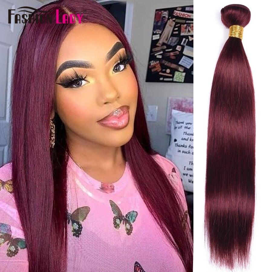 Moda senhora pré-colorido vermelho tecer cabelo brasileiro feixes de cabelo em linha reta 99j 1/3/4 peça por pacote extensão do cabelo não remy