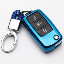 TPU 3 Düğmeler Için Araba Anahtarı Koruyucusu Volkswagen VW Polo Bora Tiguan Oto Aksesuarları Yedek Araba anahtar kovanı