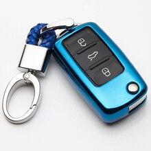 TPU 3 ปุ่มปุ่มรถยนต์สำหรับ Volkswagen VW Polo Bora Tiguan อุปกรณ์เปลี่ยน Key Shell